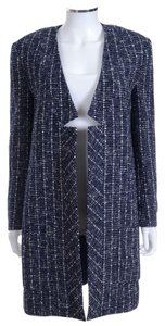 Jenni Kayne Navy Blue Tweed Boucle Long Open Jacket Coat