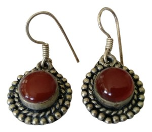 Sterling Silver Red Gemstone Earring