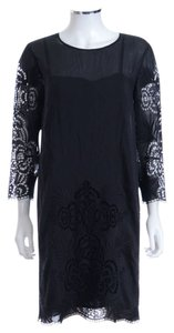Stella McCartney Black Silk Lace Cut Out Shift Dress
