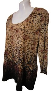 Liz Claiborne Top Beige/Brown/Bronze