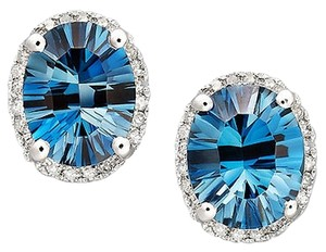 Other 14k White Gold Earrings, London Blue Topaz (4-1/2 ct. t.w.) and Diamond (1/8 ct. t.w.) Oval Stud Earrings Web ID: 572164