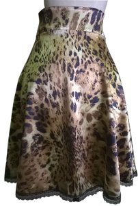 Lisa Nieves Flowy Mini Skirt brown / gold animal print