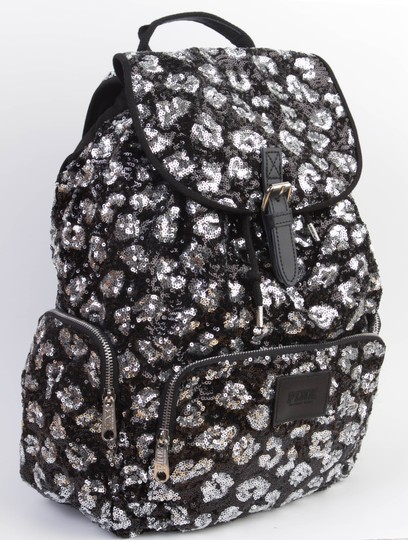 PINK Bookbag Limited Edition Canvas Sequin Backpack Image 3
