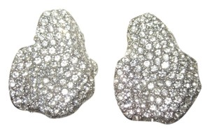 Other Vintage Ciner Pave Crystal Freeform Modernist Leaf Clip Earrings SIGNED --Superb!