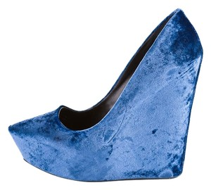 Theory Theyskens Velvet Runway 2011 Spring Fashion Toast Blue Wedges