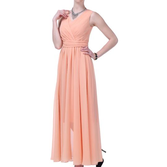 Peach Chiffon Long Graceful Sleeveless Waist-tie Formal Feminine Bridesmaid/Mob Dress Size 6 (S)