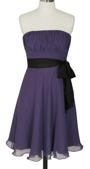 Purple Chiffon Strapless Pleated Bust W/ Removable Black Sash Formal Bridesmaid/Mob Dress Size 8 (M)