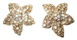 Other Vintage Ciner Gold Tone Rhinestone Flower Clip Earrings SIGNED --Superb!