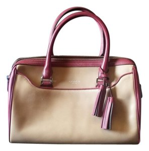 Coach Satchel in tan, cranberry