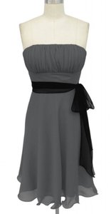Gray Strapless Chiffon Pleated Bust W/ Sash Dress