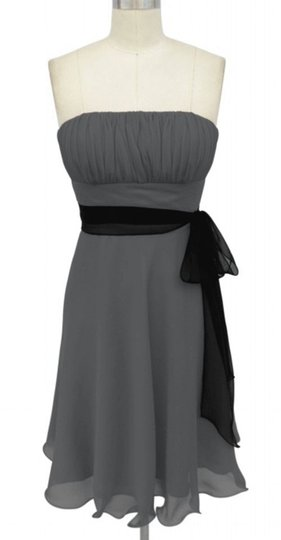Gray Chiffon Strapless Pleated Bust W/ Sash Feminine Bridesmaid/Mob Dress Size 20 (Plus 1x)