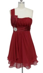 Red One Shoulder Chiffon W/ Rhinestones Ornament Dress