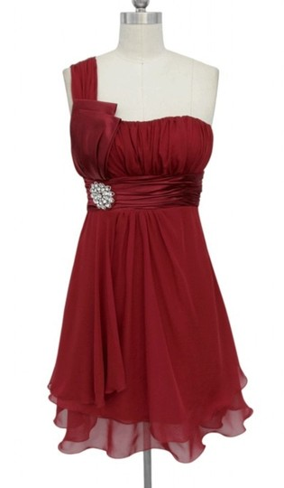 Red Chiffon One Shoulder W/ Rhinestones Ornament Formal Bridesmaid/Mob Dress Size 10 (M) Image 0