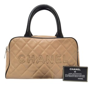Chanel Vintage Leather Handle Hobo Tote in black