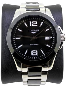 Longines * LONGINES L2.628.4.786 Conquest Black Ceramic Stainless Steel Watch