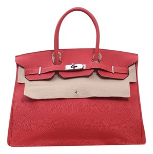 Herms Hermes Birkin 35 Togo Leather Tote in deeppink