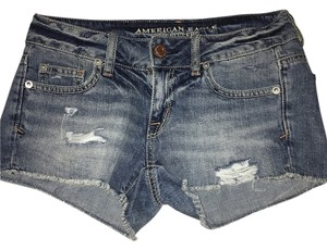American Eagle Outfitters Denim Distressed Cut Off Shorts light wash