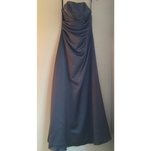 Alfred Angelo Charcoal Satin Traditional Bridesmaid/Mob Dress Size 12 (L)