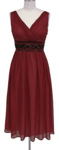 Red Chiffon Goddess Beaded Waist Formal Bridesmaid/Mob Dress Size 8 (M)