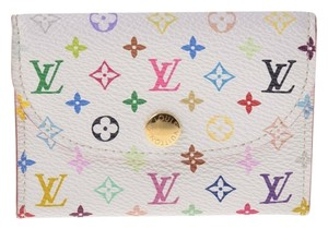 Louis Vuitton Authentic Louis Vuitton Multicolore Monogram White Card Holder w/ Litchi Interior
