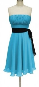 Blue Strapless Chiffon Pleated Bust Dress Dress