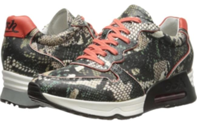 Item - Snake Embossed Leather Khaki/Coral Love Fashion Sneakers Size US 8.5 Regular (M, B)