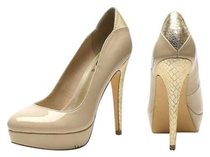 Guess Stiletto Metallic Pumps Gold/Beige Platforms