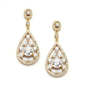Mariell Gold Cubic Zirconia Mosaic Teardrop Bridal Prom Or Wedding Earrings 4093e