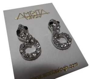 Amrita Singh Amrita Singh Silver Tone Pave Crystal Coiled Snake Stud Earrings NWT $28