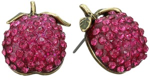 Betsey Johnson Betsey Johnson Caribbean Queen Pink Pave Apple Stud Earrings NWT $30