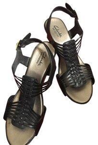 Clarks black leather Sandals