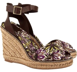 Tory Burch Brown Tory Sandals Rope Sandals Brown/purple Floral Wedges