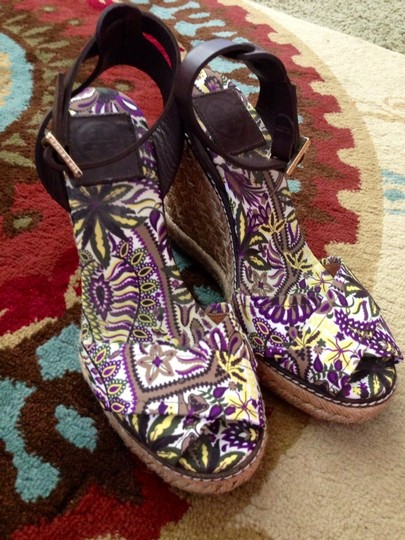 Tory Burch Sandals Rope Sandals Brown/purple Floral Wedges