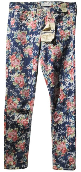 Item - Blue/Rose/White/Green Floral Medium Wash Seven Mid-rise Skinny Jeans Size 30 (6, M)