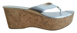 Jimmy Choo Wedges Cork Summertime Silver Sandals