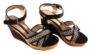 French Connection Ankle Strap Wedge Sandal Black/White Platforms