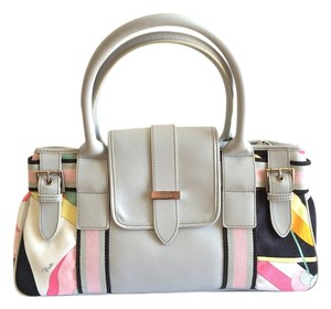 Emilio Pucci 70s Print Multicolored Gray Leather Satchel in Light Gray