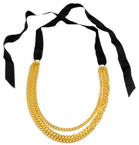Amrita Singh Amrita Singh Surigali Bright Gold Chains Necklace On Ribbons New