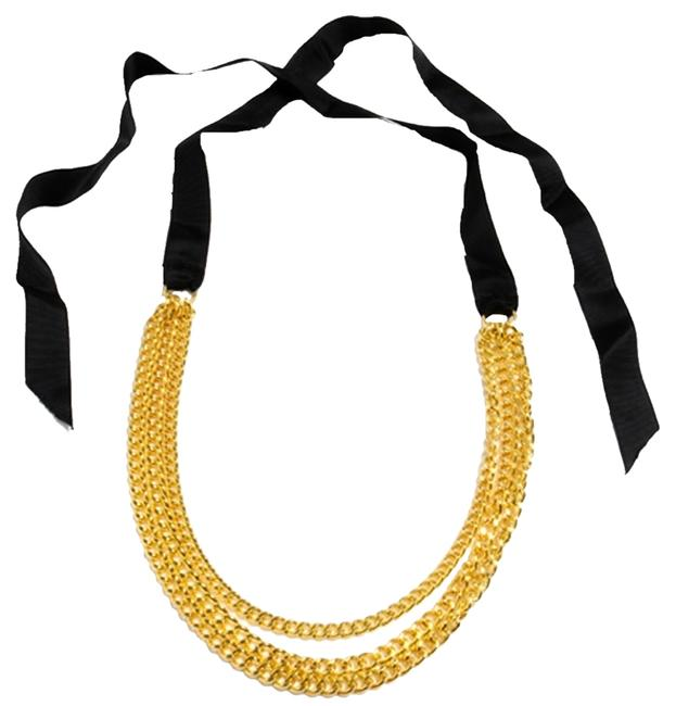Item - Black and Gold Surigali Bright Chains Ribbons New Necklace