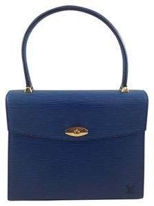 Louis Vuitton Malesherbes Business Handbag Texture Blue Clutch
