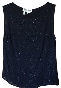 Escada Beaded Sequined Chiffon Top Black