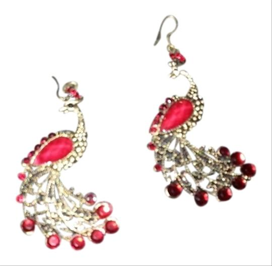 CoCoon Gorgeous Red Peacock Earrings