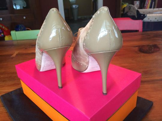 Kate Spade Peep Toe Oxford Suede Patent Leather Laces Camel Boots