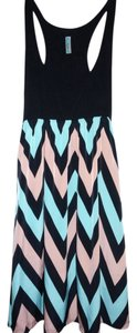 Auditions short dress Chevron Peach, Mint & Black Racer Zig Zag on Tradesy
