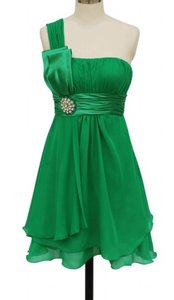 Green One Shoulder Chiffon W/ Rhinestones Ornament Dress