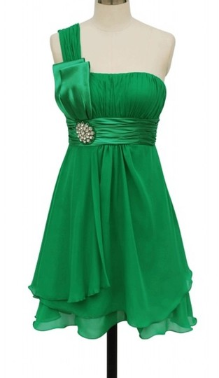 Green Chiffon One Shoulder W/ Rhinestones Ornament Formal Bridesmaid/Mob Dress Size 22 (Plus 2x) Image 0