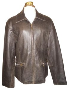 Valerie Stevens Leather Distressed brown Leather Jacket
