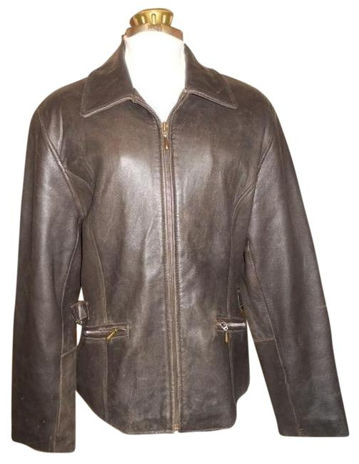 Valerie Stevens Distressed brown Leather Jacket