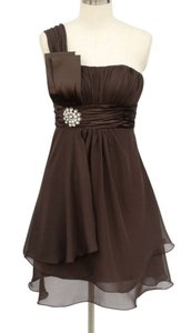 Brown Chocolate One Shoulder Chiffon W/ Rhinestones Ornament Dress
