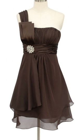 Preload https://item3.tradesy.com/images/brown-chiffon-chocolate-one-shoulder-w-rhinestones-ornament-modern-bridesmaidmob-dress-size-6-s-116012-0-0.jpg?width=440&height=440